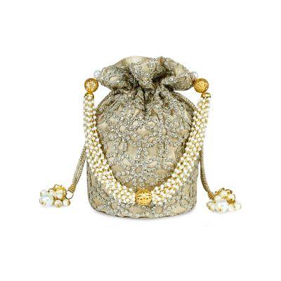 Silverish gold potli bag