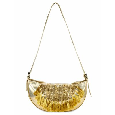 Golden Boho tassel bag