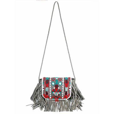 Grey colour fringe sling bag