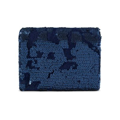 Midnight blue sequin clutch