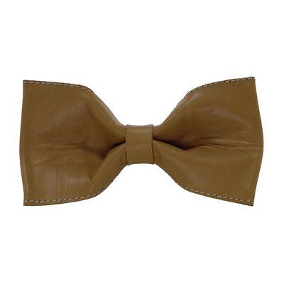 Tiekart men brown plain solids leather bow tie