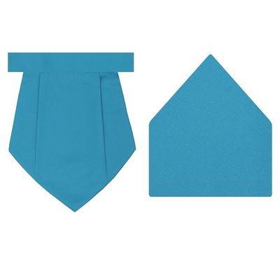 Tiekart cool combos blue plain solids  cravat+pocket square