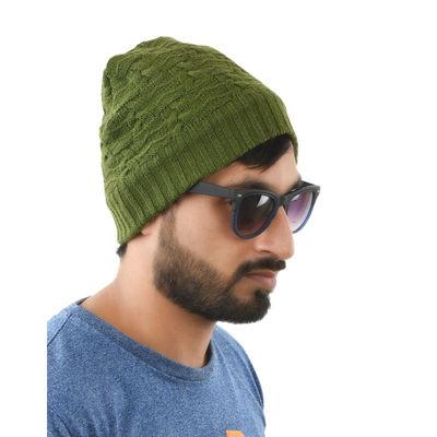 Tiekart men green woollen winter caps