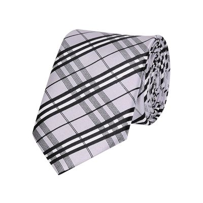 Tiekart men grey checked skinny slim tie