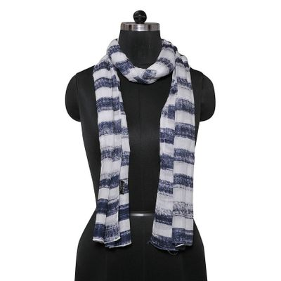 Tiekart women black & white striped  scarf