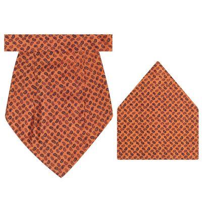 Tiekart cool combos brown silk cravat+pocket square