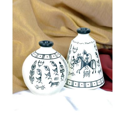 Handpainted White Tribal  terracotta Pots Set