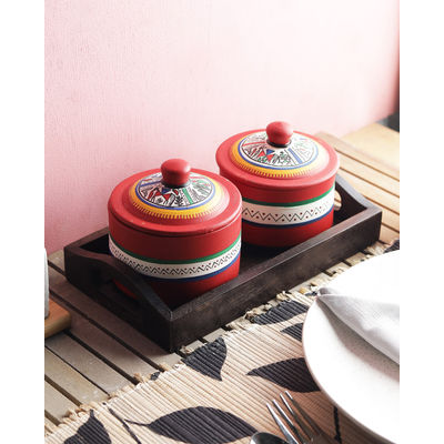 Terracotta Red Pickle Jars Set with Tray