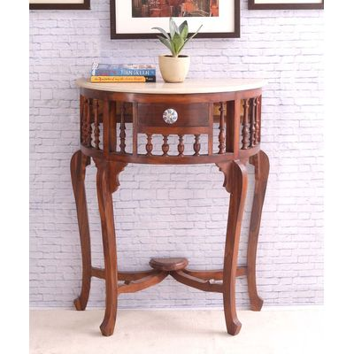 Teak Wood D Shaped Console with Marble Top