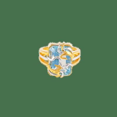 Blue Topaz Designer gold Ring