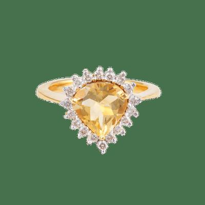 Citrine Pan Diamond Ring
