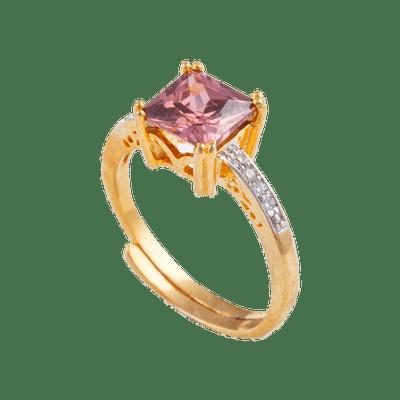 Pink Tourmaline Unusual Wedding Gold Ring