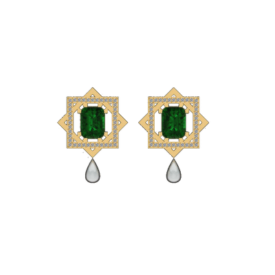 Emerald gold pearl dropping earings