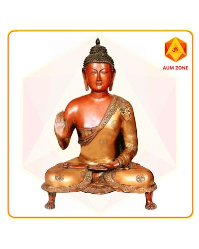 Buddha Sitting on stand Brass Finish