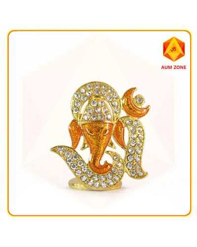 Om Ganesha Orange Studed Murthi