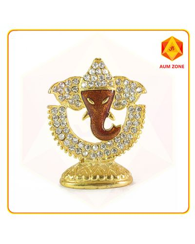 Ganesha on Half Moon Studed Murthi Brown