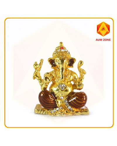 Golden Ganesha Studed Murthi
