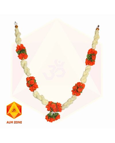 Bead Garland With Orange Flower Bunch