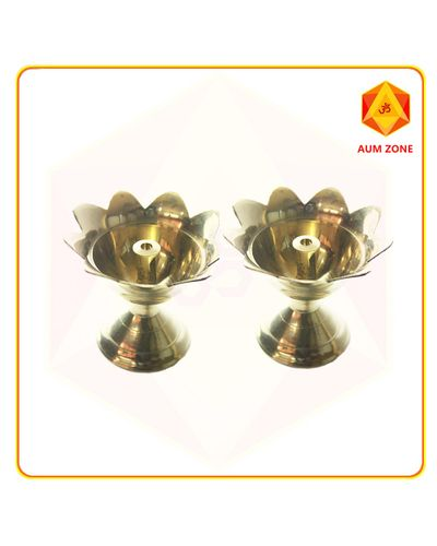 Lotus diya with centered wick 2 inches