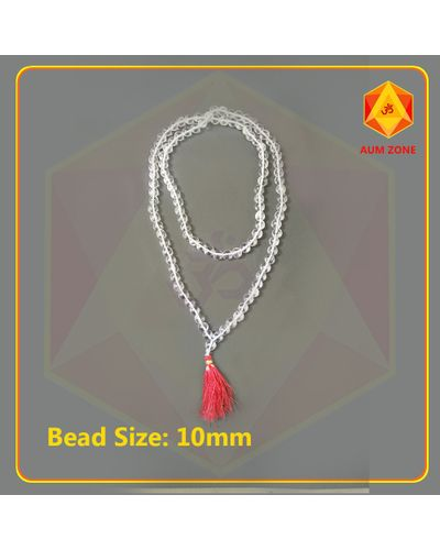 Natural Sphatik Mala A 10 mm (108 + 1 Beads)