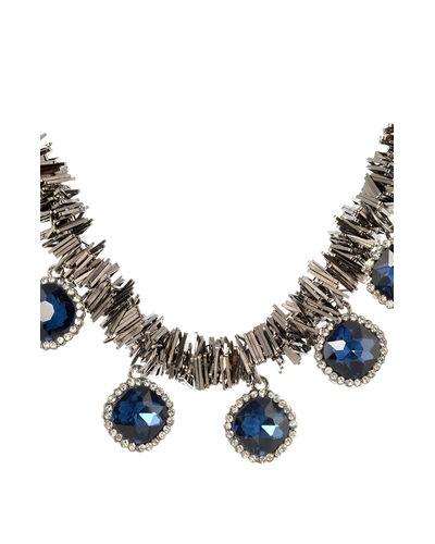 Metallic Blue Stoned Necklace