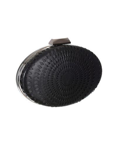 Oblong Faux leather Black Clutch