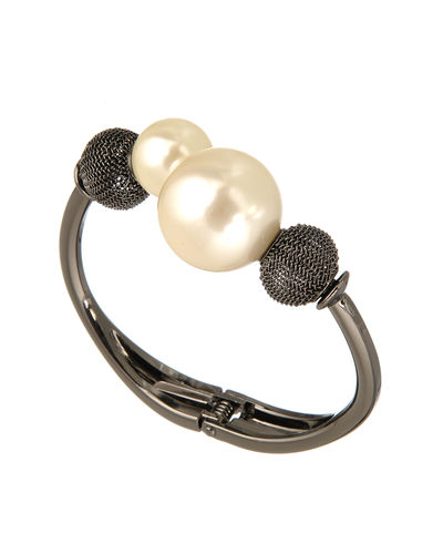 Metallic Black and Pearl Bracelet