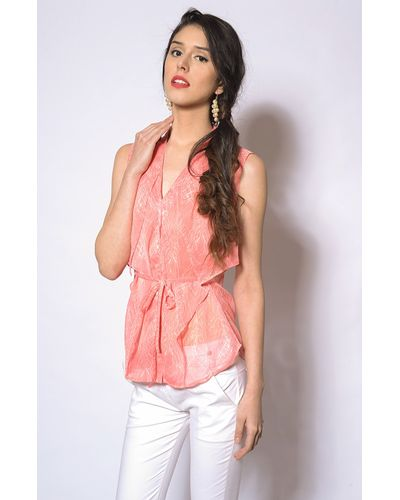Buttoned  Peach Blouse