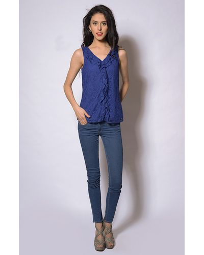 Front Ruffle Blouse