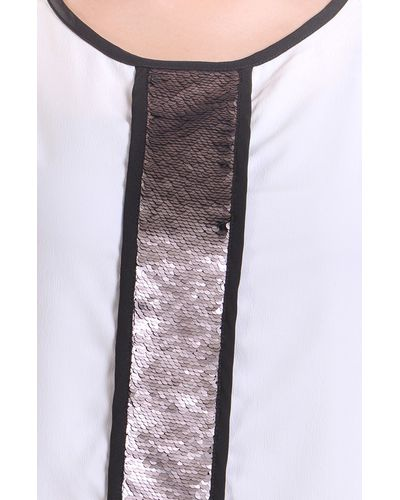 Ivory Sequined Gala Top