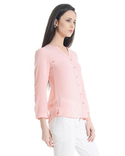 Soft Pink Buttoned Casual Top