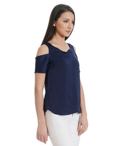 Berry Blue Cold Shoulder Top