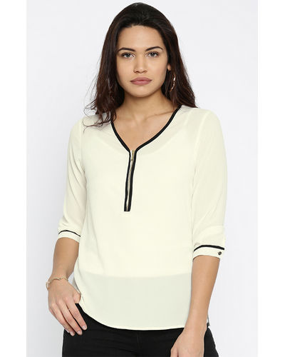 Ivory Front Zipper Top
