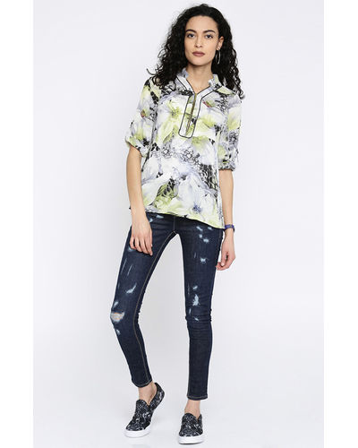 Floral Front Zipper Top