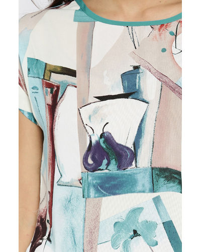 Blue & Cream-Coloured Printed Top
