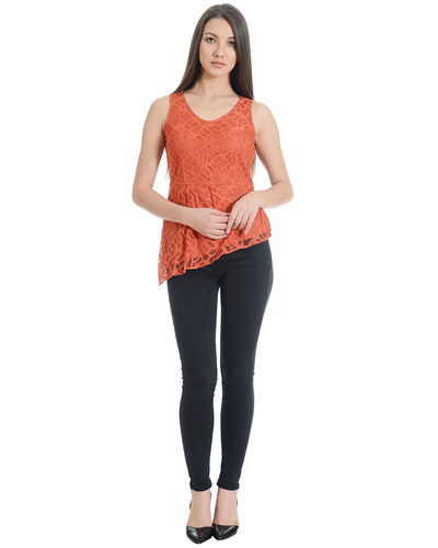 Rusty Asymetric Lace Top