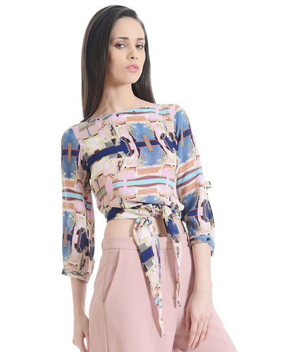 Abstract Front Knot Top
