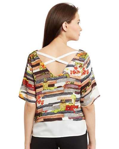 Graphical Stripes Layered Top