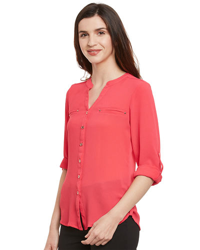 Rose Pink Buttoned Casual Top