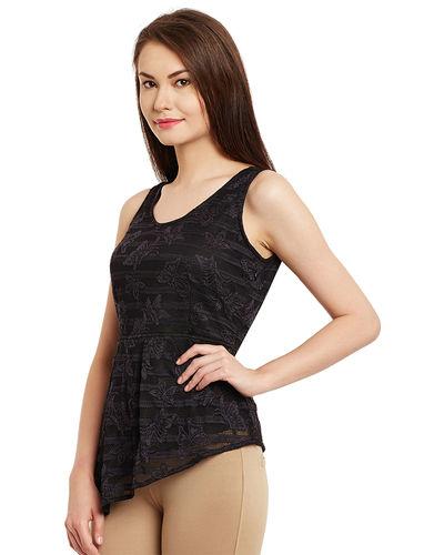Noir Assymetric Lace Top