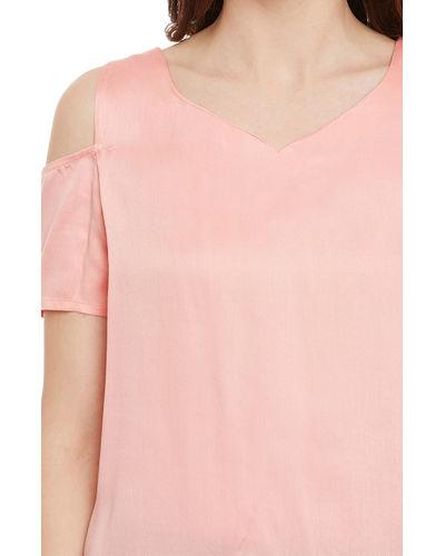 Pearl Pink Cold Shoulder Top