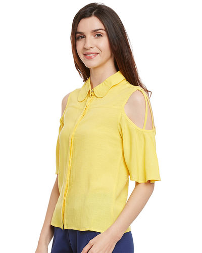 Sunshine Yellow Cold Shoulder Top