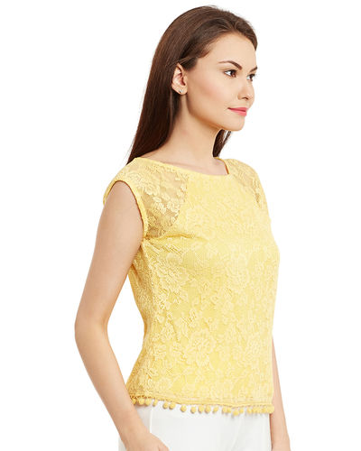 Sunshine Yellow Lace Top