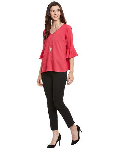 Rose Pink Bell Sleeves top
