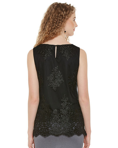 Noir Sheer Sequin Top
