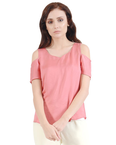 Pearl Pink Cold Shoulder Top
