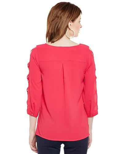 Pink Punch Cross Sleeves Top