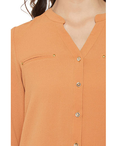 Caramel Front Buttoned Top