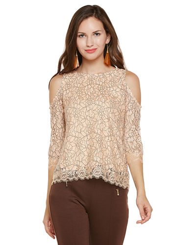 Beige Cold Shoulder Top