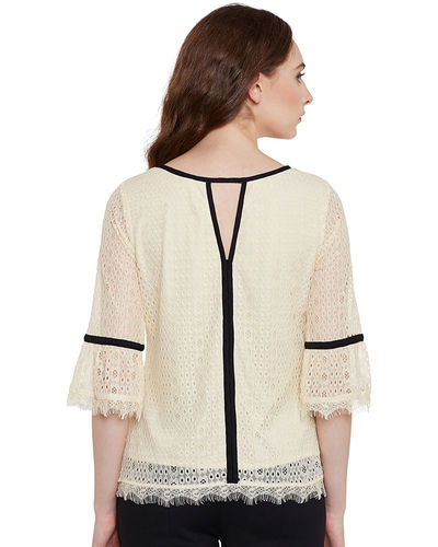 Ivory Bell Sleeves Lace Top